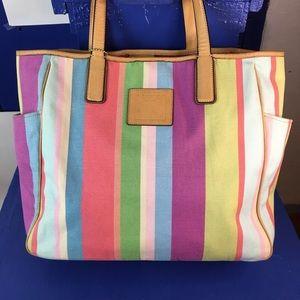 Coach Shoulder Bag Purse Tote Multi Stripe Colors